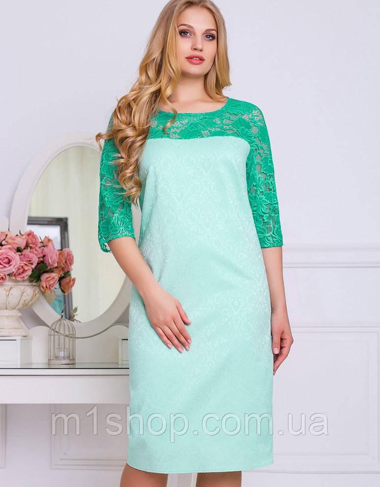 Жаккардовое платье с гипюром больших размеров (2213-2209-2211 svt)