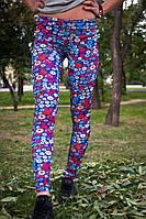 Лосины женские для фитнеса с абстрактным принтом (синий, красный), фото 1