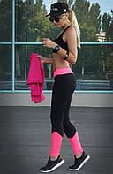 """Лосины для спорта """"Грация"""" (чёрный, розовый), фото 1"""