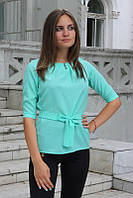 Блузка женская с поясом однотонная светло бирюзовая, фото 1