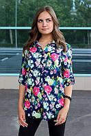 Рубашка женская удлиненная с цветочным принтом (синий)