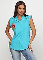 Рубашка женская безрукавка с вышивкой (бирюзовый), фото 1