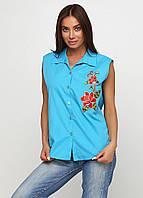 Рубашка женская безрукавка с вышивкой (ярко-голубой), фото 1