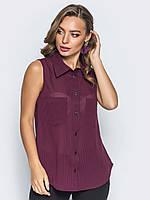 Практичная легкая женская шифоновая полупрозрачная рубашка Modniy Oazis красный 90301/1, фото 1