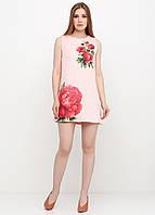 Платье женское из льна летнее с цветочным принтом (персиковый)