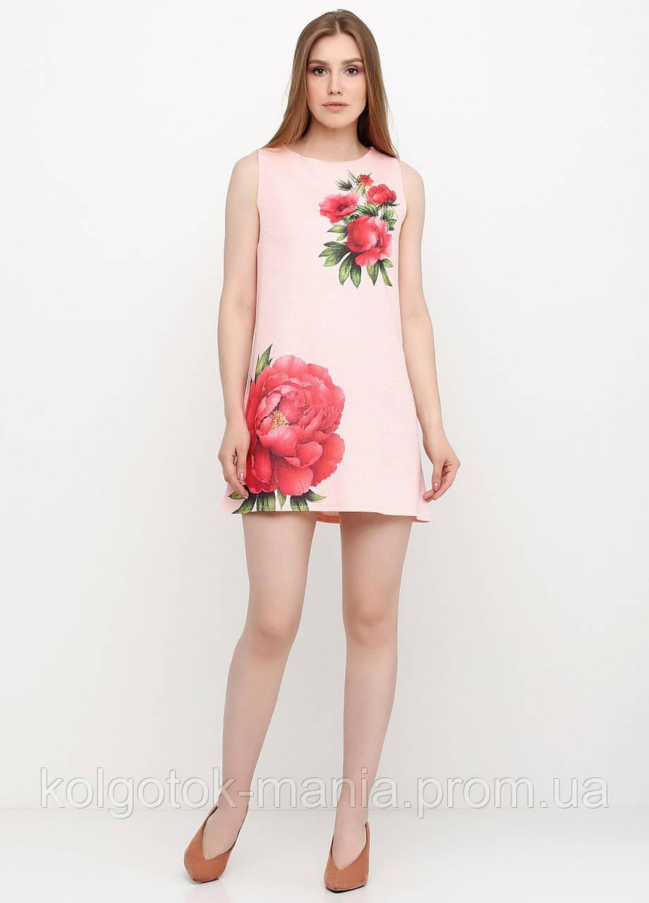 Платье женское из льна летнее с цветочным принтом (персиковый), фото 1