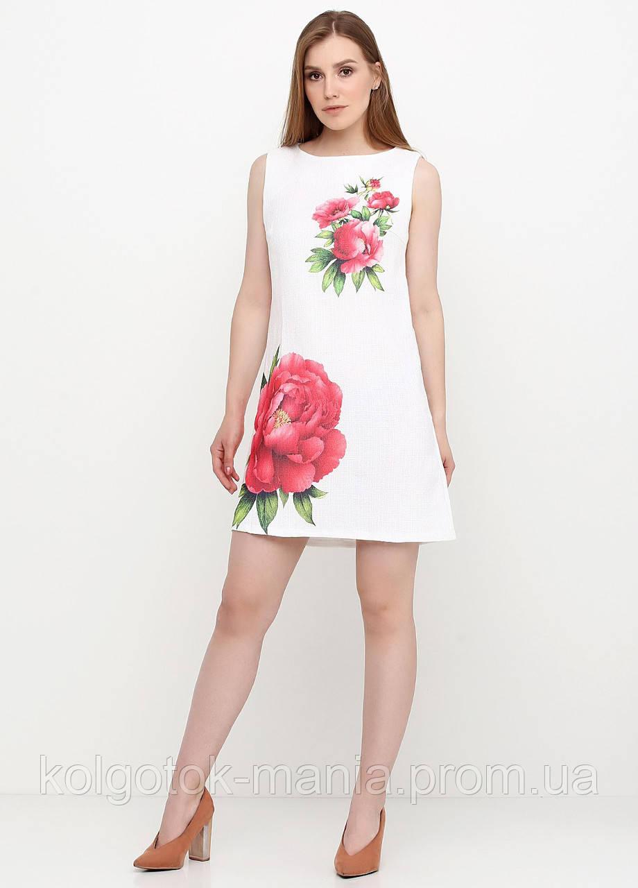 Платье женское из льна летнее с цветочным принтом (белый)