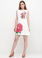 Платье женское из льна летнее с цветочным принтом (белый), фото 1
