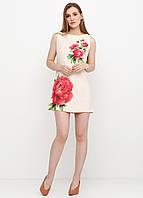 Платье женское из льна летнее с цветочным принтом (светло-бежевый), фото 1