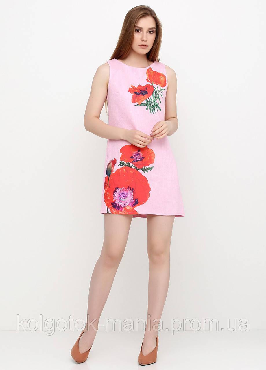 Платье женское из льна летнее с цветочным принтом (светло-розовый)