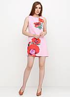 Платье женское из льна летнее с цветочным принтом (светло-розовый), фото 1