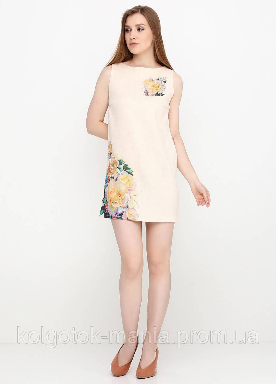 Платье женское из льна летнее с цветочным принтом (светло-бежевый)