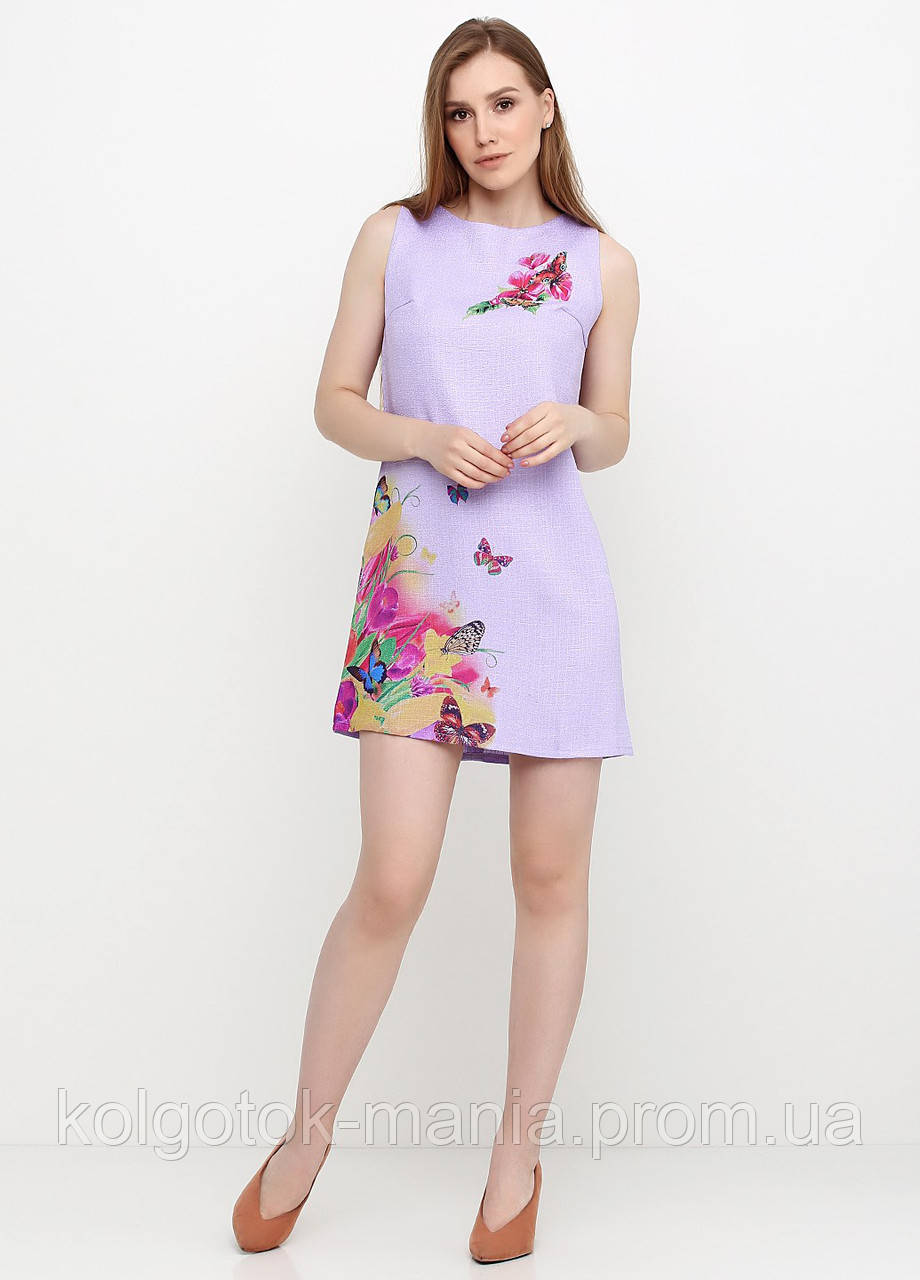 Платье женское из льна летнее с цветочным принтом (сиреневый)