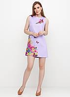 Платье женское из льна летнее с цветочным принтом (сиреневый), фото 1