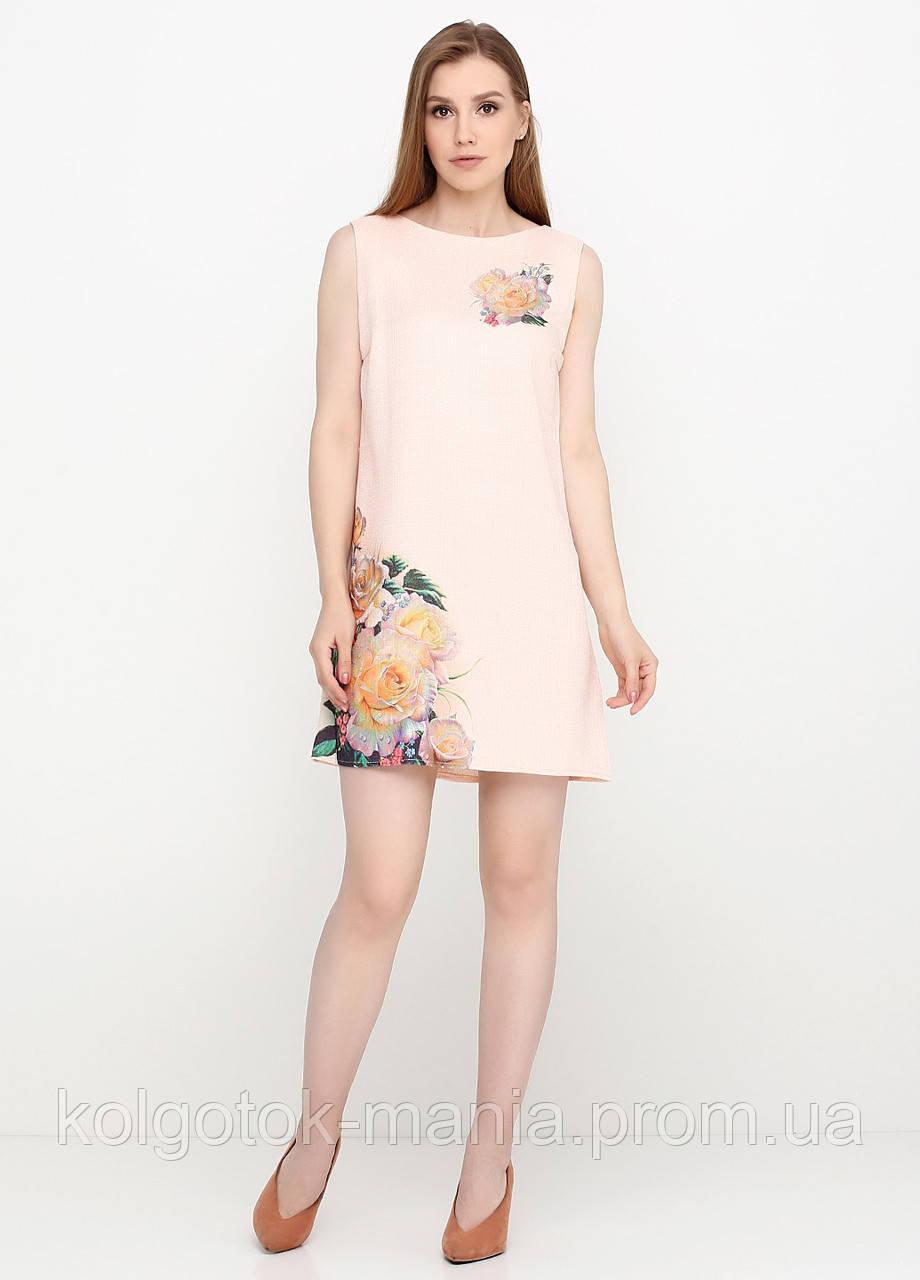 Платье женское из льна летнее с цветочным принтом (пудра), фото 1