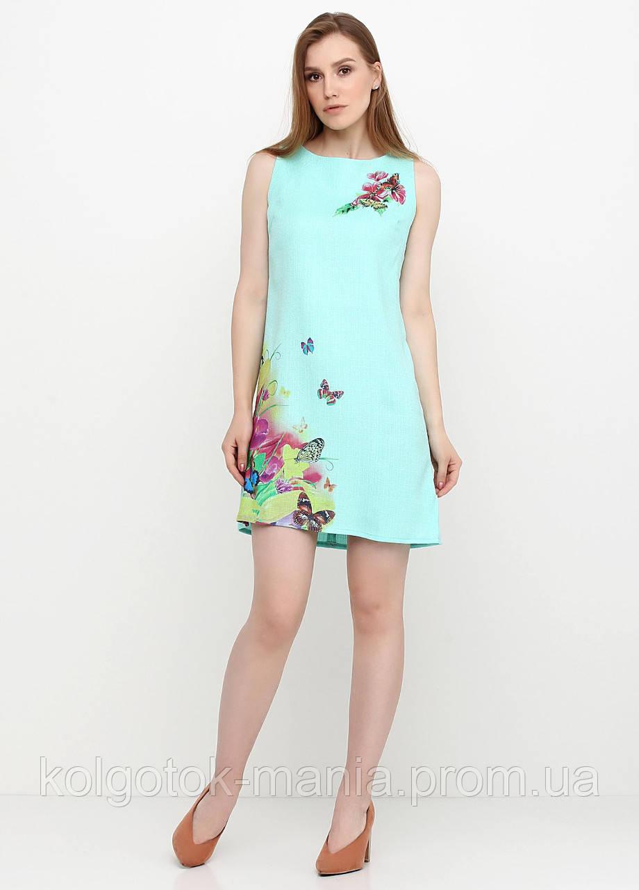 Платье женское из льна летнее с цветочным принтом (светло-бирюзовый)