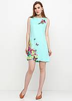 Платье женское из льна летнее с цветочным принтом (светло-бирюзовый), фото 1