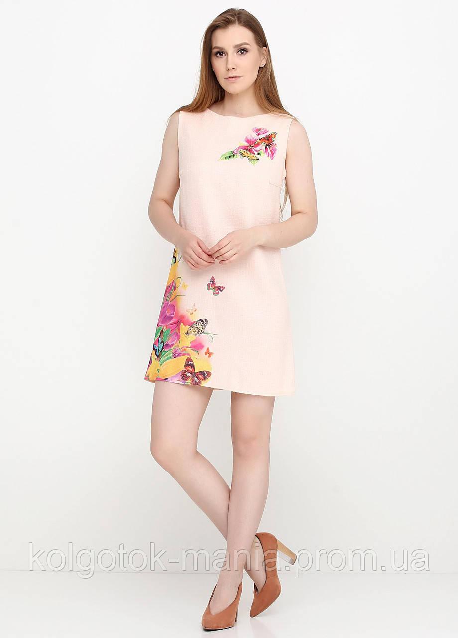 Платье женское из льна летнее с цветочным принтом (пудра)