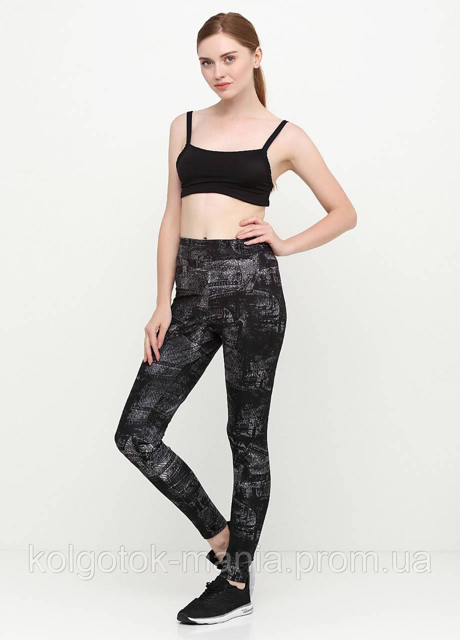 Лосины женские для фитнеса с абстрактным принтом (чёрный, джинс)