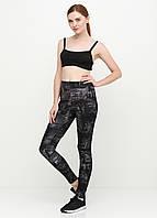 Лосины женские для фитнеса с абстрактным принтом (чёрный, джинс), фото 1