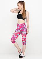 Бриджи для фитнеса с камуфляжным принтом (розовый, сиреневый) , фото 1