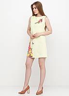 Платье женское из льна летнее с цветочным принтом (светло-жёлтый), фото 1