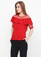 Лёгкая блузка со вставками из евросетки (красный), фото 1