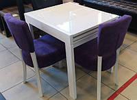 Стол обеденный СЛАЙДЕР со стеклом БЕЛЫЙ 81,5(+81,5)х67см
