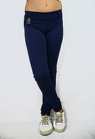 Лосины, Леггинсы детские синие с поясом и карманами сзади
