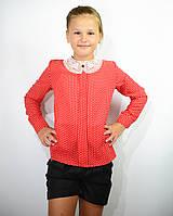 Детская блузка школьная красная для девочки с кружевным воротником и брошью , фото 1