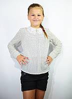 Детская блузка школьная белая для девочки с кружевным воротником и брошью , фото 1