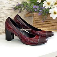 Женские туфли на устойчивом каблуке, цвет бордо, фото 1