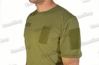 Термофутболка тактическая потоотводящая из синтетической ткани цвета хаки, фото 2