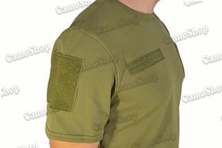 Термофутболка тактическая потоотводящая из синтетической ткани цвета хаки, фото 3