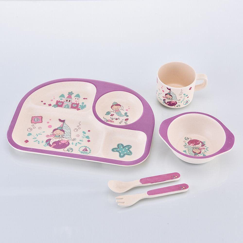 Детский набор посуды из бамбука Русалка