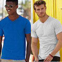 Мужская футболка с v-образным вырезом 100% хлопок 61-066-0