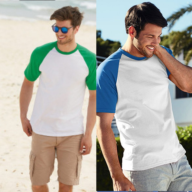 Мужская футболка цветной рукав 100% хлопок 61-026-0