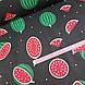 Ткань хлопковая, арбузы крупные красно-зеленые на черном, фото 3