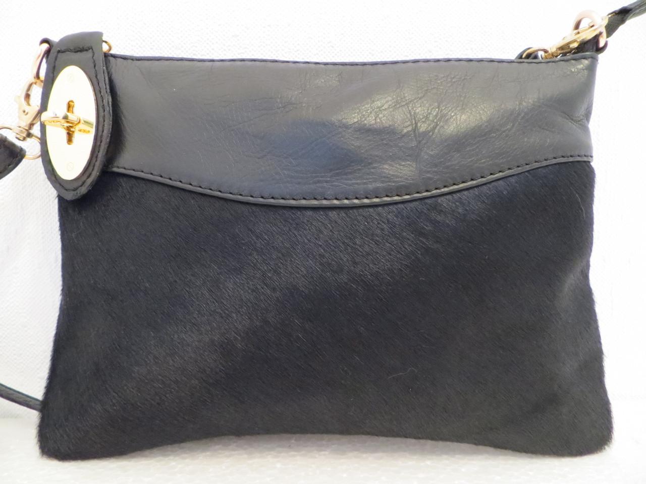 Женский клатч кожаный с натуральным мехом, черный - лео.. Италия Черный, фото 1
