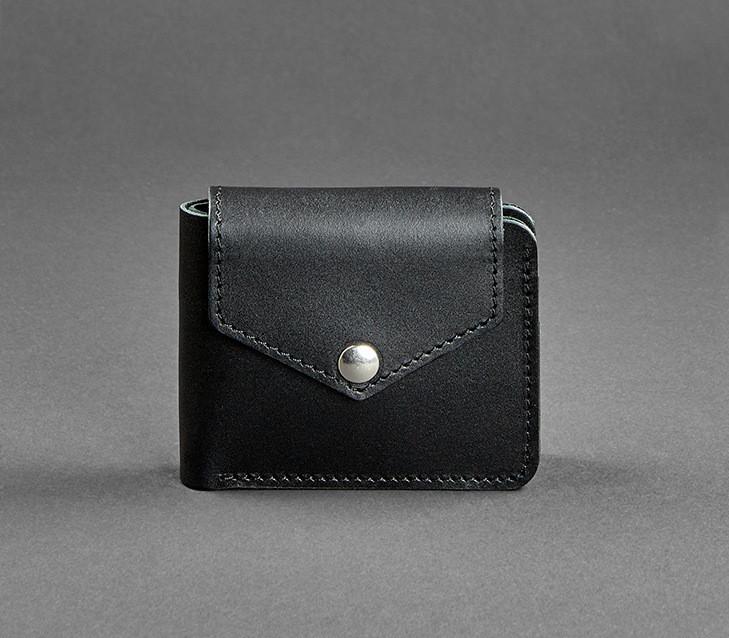 Купюрник кожаный мужской карты, монетница графит (ручная работа)