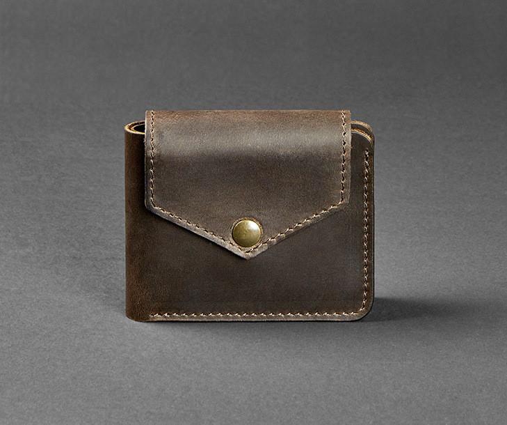Купюрник кожаный мужской карты, монетница коричневый (ручная работа)