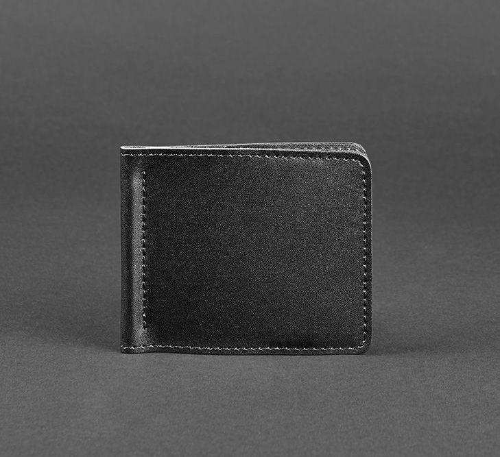 Купюрник зажим для денег не магнитный натуральная кожа черный