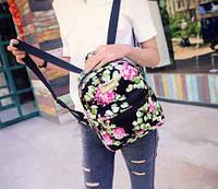 Рюкзак женский цветочный черный Уценка, фото 1