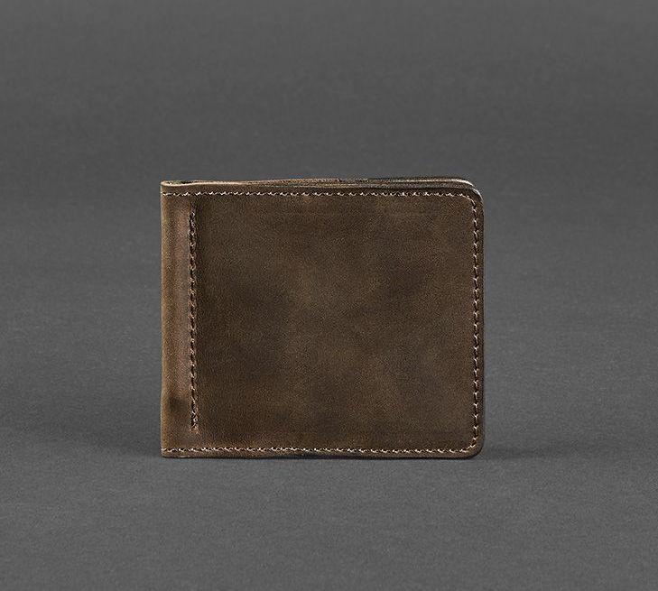 Купюрник зажим для денег не магнитный натуральная кожа коричневый