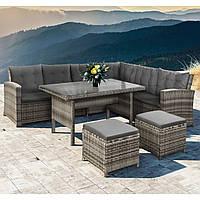 Садовый угловой диван со столом из ротанга