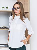 956decde928 Актуальная деловая женская белая блузка трапецией с рукавом 3 4 и  воротником стойкой 90311