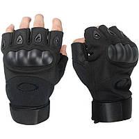 Беспалые тактические перчатки OAKLEY Black с усиленным Протектором, фото 1