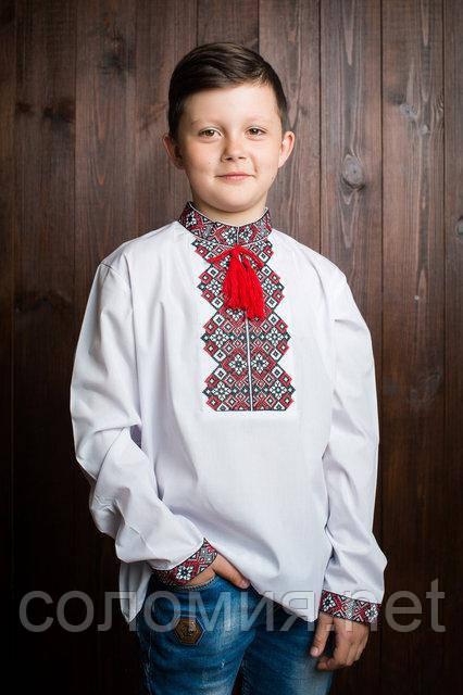 Рубашка с вышивкойкрасного цвета для мальчика. 110-152р