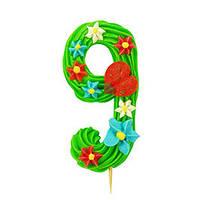Декор кондитерський Добрик Цифри святкові зелений колір №9 36 шт./ящ. (асорті)