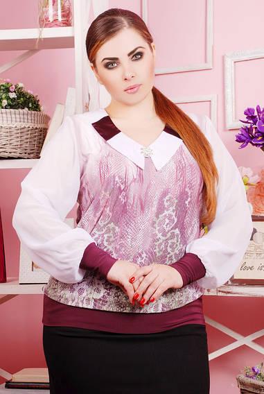Шифоновая блуза цвет принта сиреневый  БРОШКА
